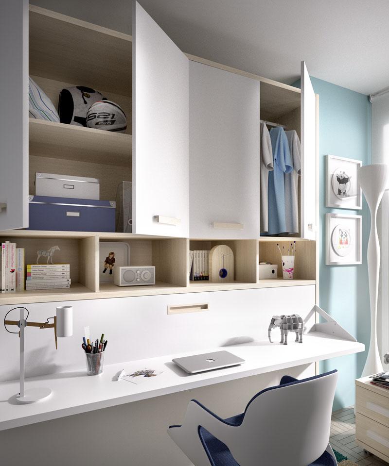 Poco espacio soluci n camas abatibles - Habitaciones infantiles dobles poco espacio ...