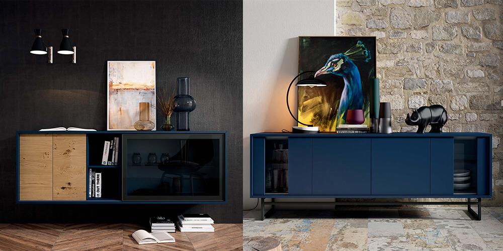 Aparadores de muebles Mesegue con acabados Classic Blue de Pantone