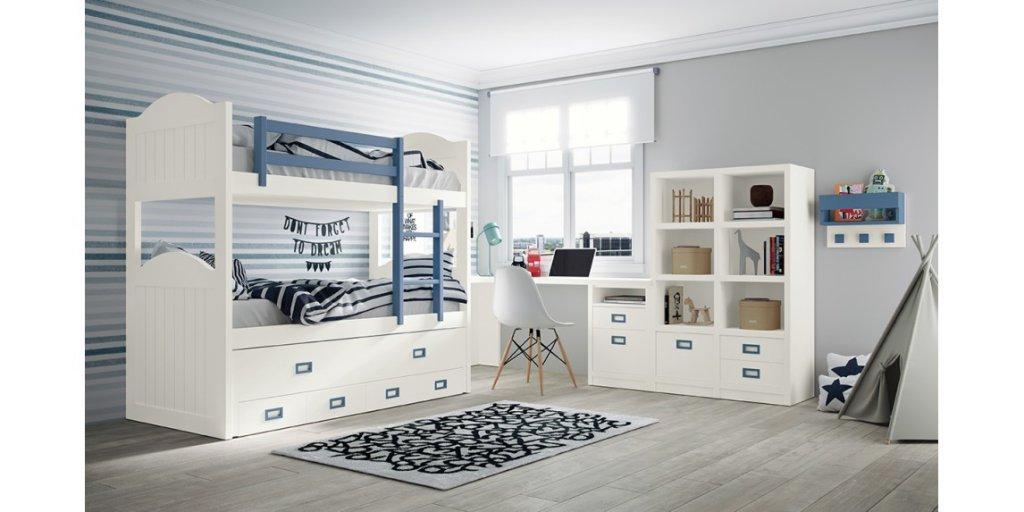 Litera de estilo clásico con cama desplazable y cajones de Siboney