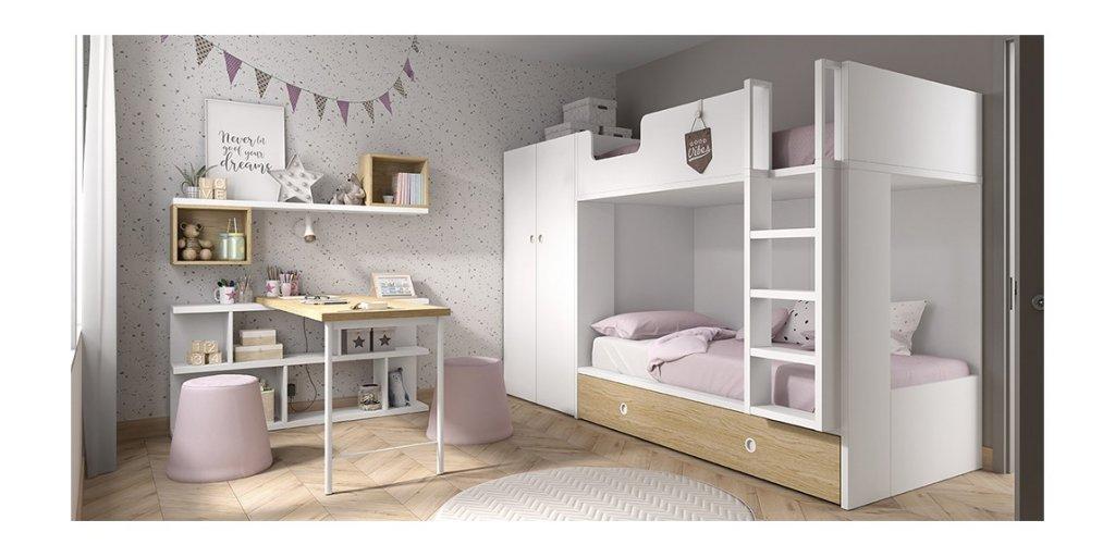 Litera con cama nido y armario lateral de Ros