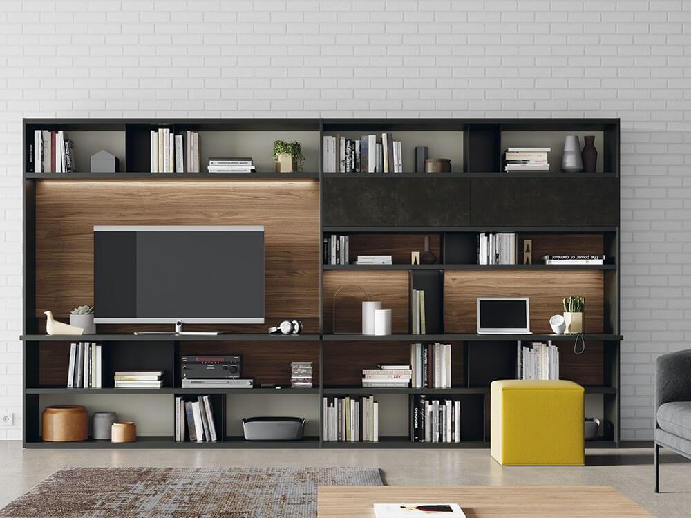 librería de salón con escritorio integrado para oficina en casa