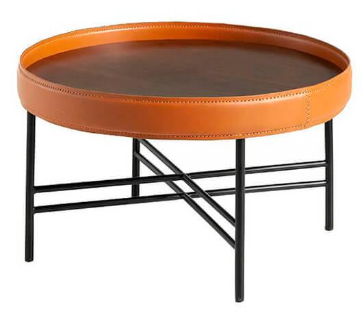 Mesa auxiliar redonda de diseño con estructura de metal, tapa chapada en nogal y aro de cuero natural reciclado 2059 de ángel cerdá