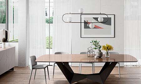 Mesa de comedor fija de porcelánico